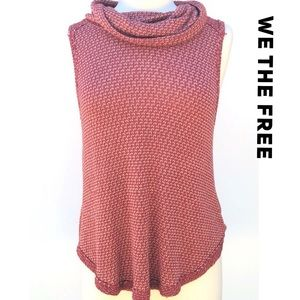 We The Free Free People Orange Cowlneck Knit Top